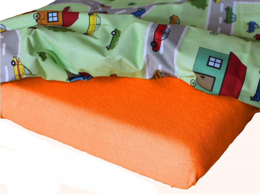 Dětské froté prostěradlo do mateřské školy oranžová