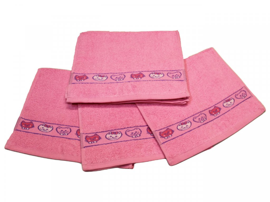 Obrázkový dětský ručník pro mateřské školy 30x50 cm Kočička růžová 1