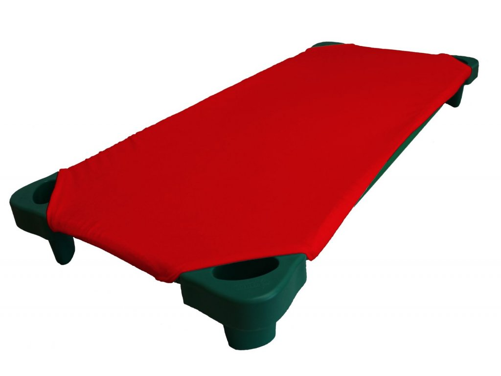 Červené froté prostěradlo na lehátka do školky