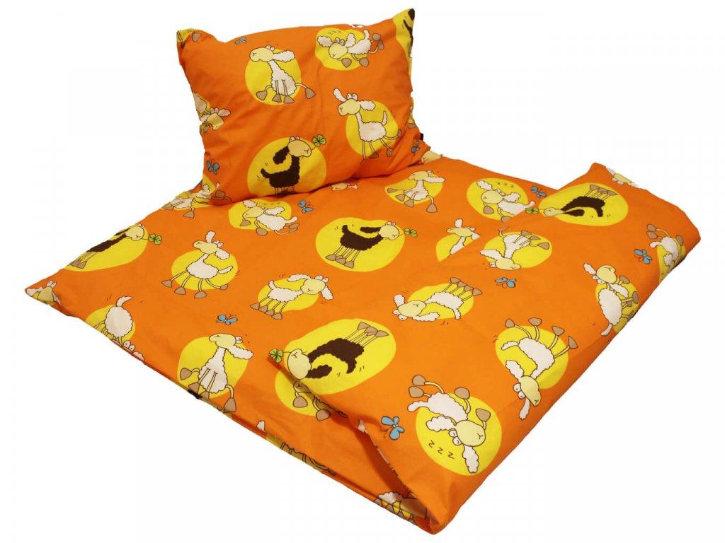 Dětské bavlněné povlečení Ovečka oranžová 1