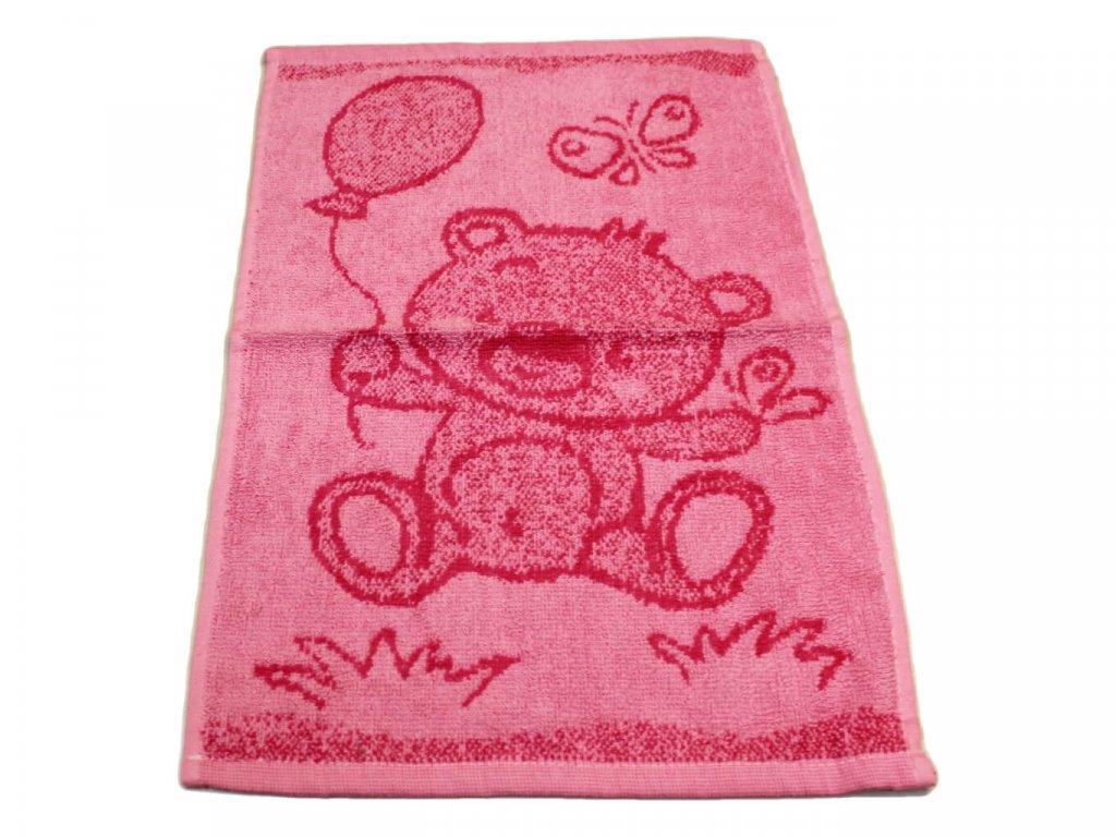 Obrázkový dětský ručník pro mateřské školy 30x50 cm Medvídek růžový 1
