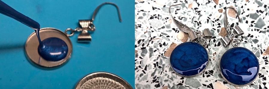 Lůžka na pryskyřici návod - náušnice s metalickým práškem