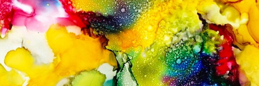 Alkoholové inkousty- efekty na povrchu pryskyřice