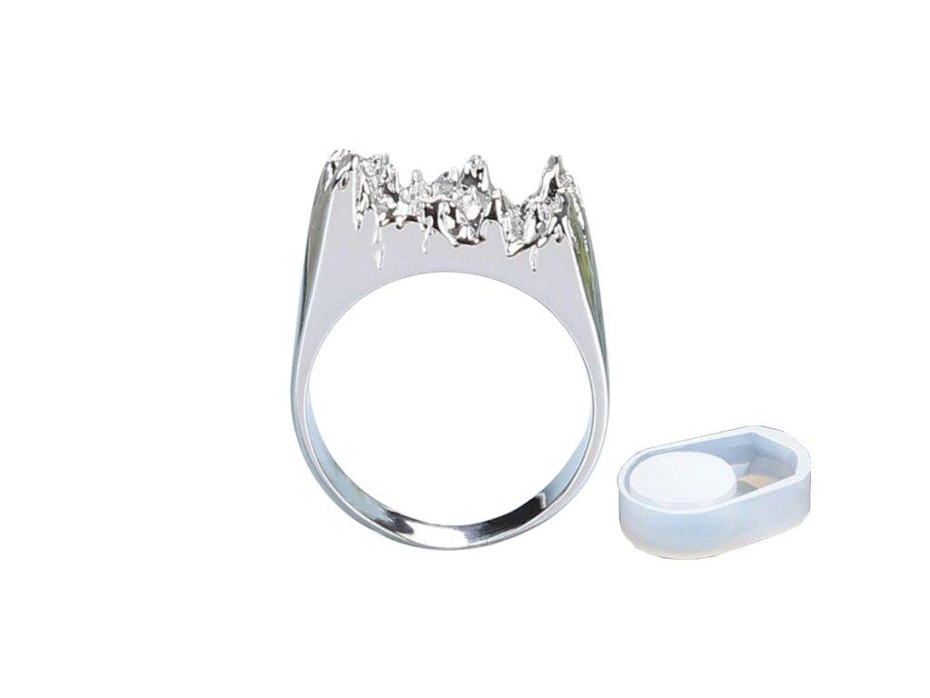 Silikonová forma na prsten včetně prstenu stříbrný 17 mm