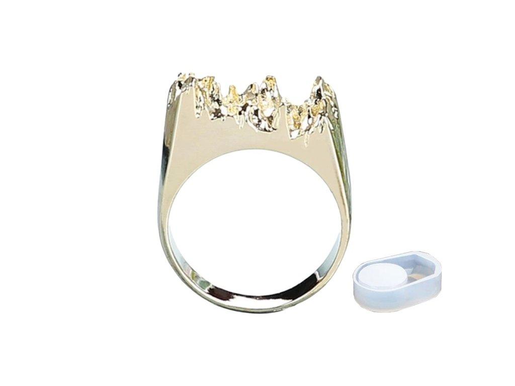 Silikonová forma na prsten včetně prstenu zlatý 16 mm