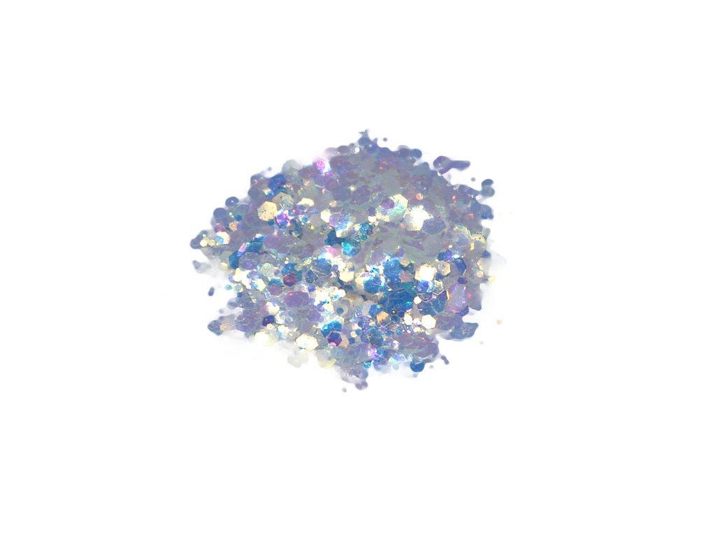 Glitr do pryskyřice Hexagon Bílá fialovo zelená 0717 10g