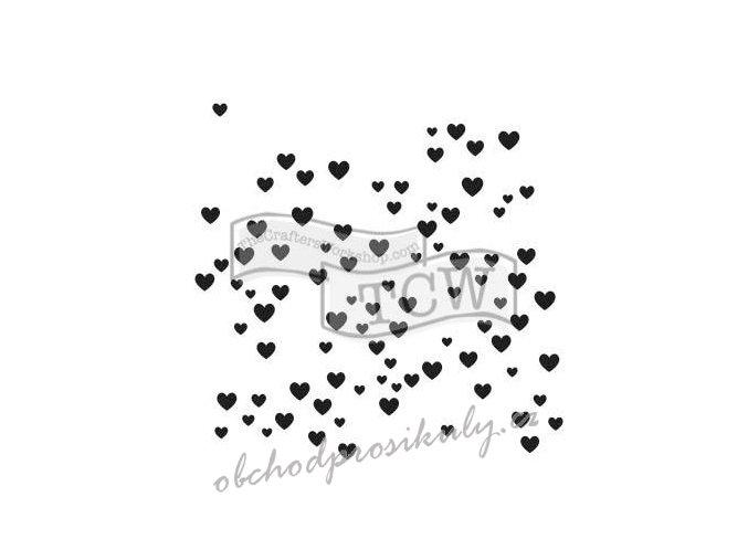 """Šablona 6""""x6"""" (15,5 x 15,5 cm), Micro Hearts"""