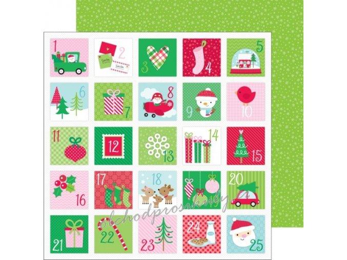 Oboustranný papír na scrapbook (1ks) Christmas countdown