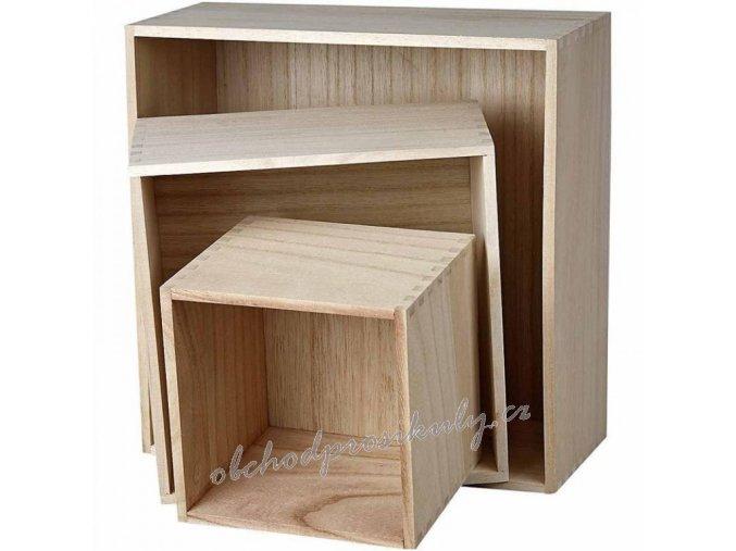 Dřevěné boxy sada 3ks