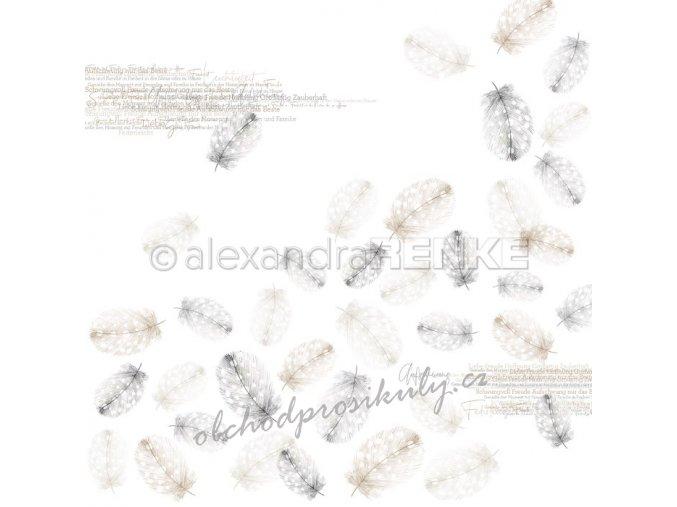 Jednostranný papír na scrapbook (1ks) Falling feathers nature