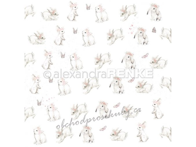 Jednostranný papír na scrapbook (1ks) Rabbits with wreaths