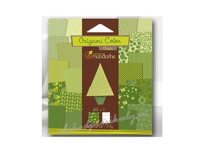 Papíry na Origami zelené, 12x12cm, 20ks, dárkové balení