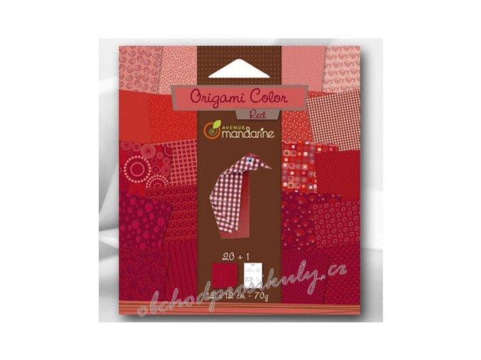 Papíry na Origami červené, 12x12cm, 20ks, dárkové balení