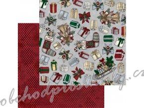 Oboustranný papír na scrapbook (1ks) Tis The Season Traditions
