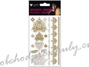 Tetovací obtisky zlaté a stříbrné 15x9 cm