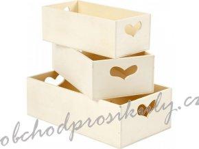 Dřevěné krabice se srdíčkem 3ks