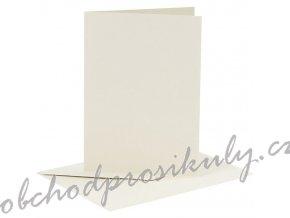 A6 přání a obálky 6ks (240g/m2) krémové