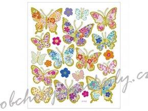 Samolepky 15x17cm - Motýli z květin