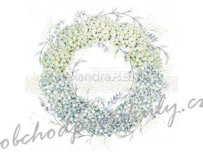 Jednostranný papír na scrapbook (1ks) Hydrangeas wreath