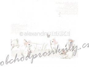 Jednostranný papír na scrapbook (1ks) Rabbits Frühling