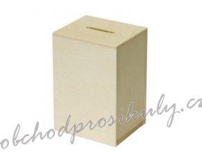 Dřevěná obdelníková kasička 10x7x6cm