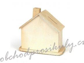Dřevěná kasička domeček 9,8x10,5x5,5cm