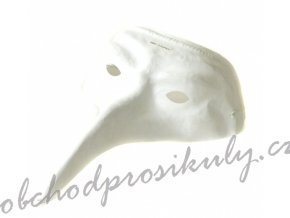 Maska benátská dlouhý nos - bílá - W4684