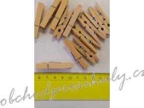 Kolíčky dřevěné, přírodní, 4,5cm, 12ks