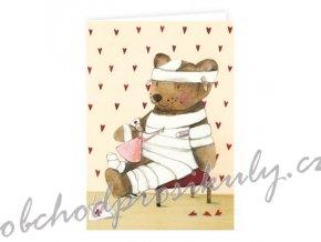 klappkarte zur genesung mit teddy
