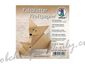 Papíry na origami 10x10cm (100ks) kraft