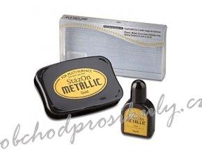 Razítkovací polštářek StazOn Set s náhradním inkoustem (zlatý)