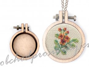 Mini dřevěný rámeček / přívěsek na vyšívání srdce, ovál, kruh