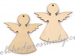 Dřevěný anděl k zavěšení / k nalepení, 3ks