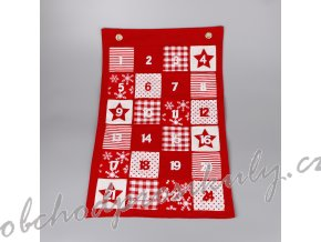adventni kalendar filc 40x63cm cervena