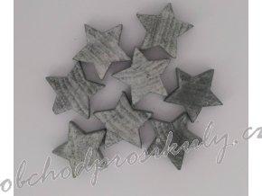 Dřevěné hvězdy, šedé, vel. 3cm