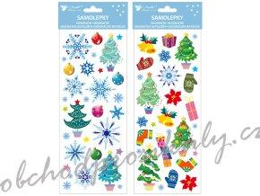Samolepky vánoční barevné s glitrem 13 x 34,5 cm, dva motivy