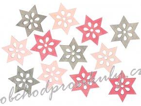 Hvězdy dřevěné 4 cm 12 ks