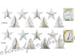 Papírové jmenovky s ražbou strom, hvězda 6,5 cm, 8 ks