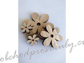 Dřevené kytičky, mix velikostí, přírodní
