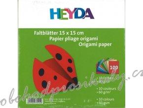 Papír na Origami mix 10 barev, 20x20cm, 60g