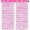 Samolepky Abeceda a čísla Abigail - sytě růžová
