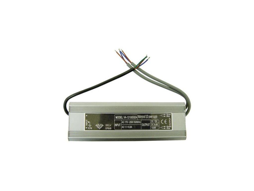 80W elektronický 12V zdroj venkovní, IP67 DE LED 80W