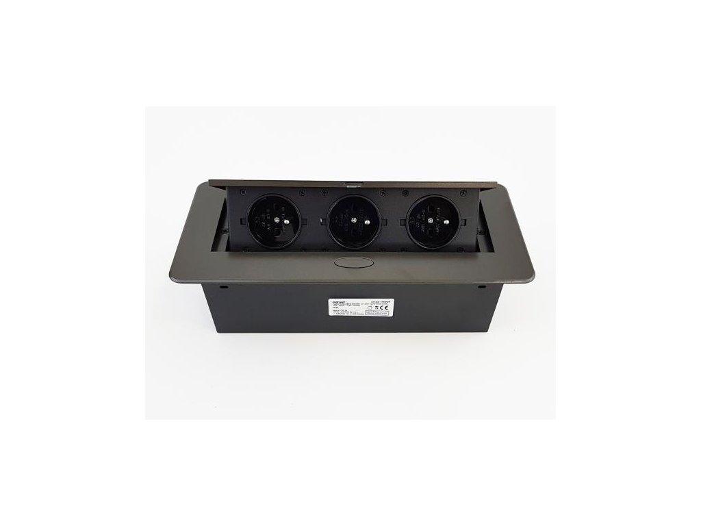 Vestavná, výklopná zásuvková skříňka - 3 zásuvky 230V - tmavě šedá, grafitová barva ORNO AE 1336 GR grafit
