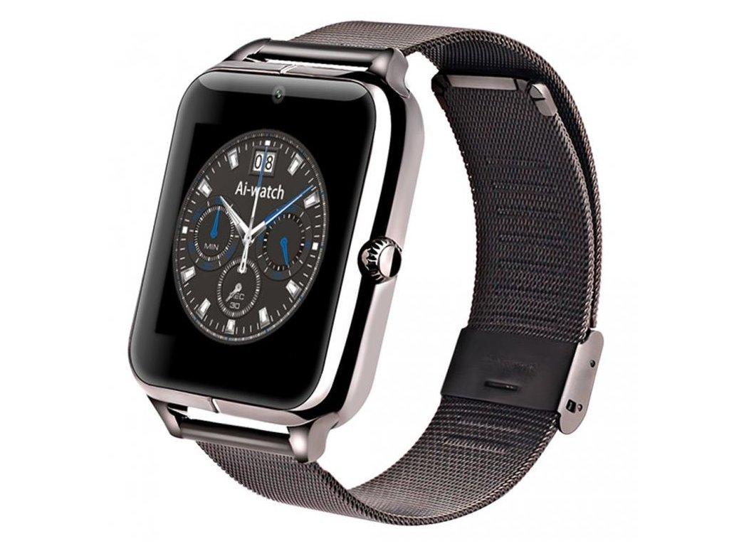 Chytré bluetooth hodinky (smart watch) s kovovým páskem - Černá ... 48903ab624c