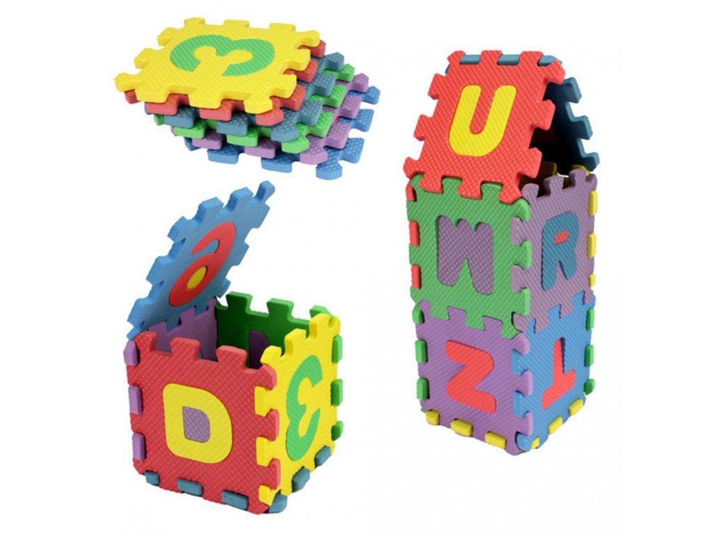 Barevné pěnové puzzle na zem s vyjímatelnými písmeny a čísly 36 ks