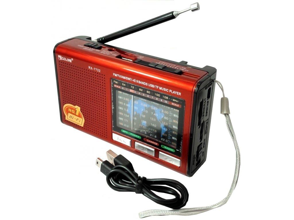Přenosné nabíjecí rádio (USB, microSD)
