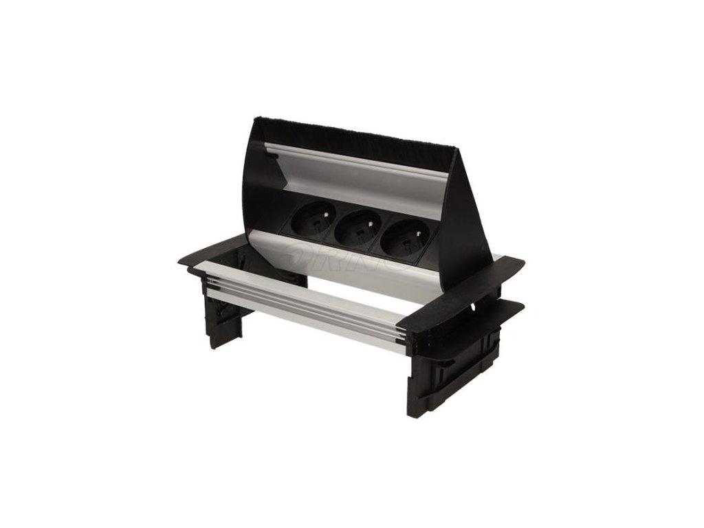 Vestavná, výklopná zásuvková skříňka se třemi zásuvkami