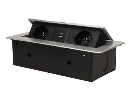 Vestavný, zásuvkový, vyklápěcí modul - 2x zásuvka 230V a 2x zásuvka USB včetně zdroje ORNO AE 13109G stříbrná