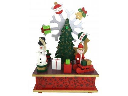 Vánoční dekorace hrající a pohyblivá vločka se stromečkem 20 cm