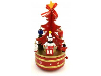 Vánoční dekorace otáčivý a hrající stromeček 21,5 cm